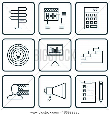 Set Of 9 Project Management Icons. Includes Announcement, Reminder, Opportunity And Other Symbols. Beautiful Design Elements.