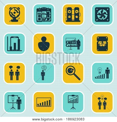 Set Of 16 Board Icons. Includes Personal Character, Report Demonstration, Project Presentation And Other Symbols. Beautiful Design Elements.