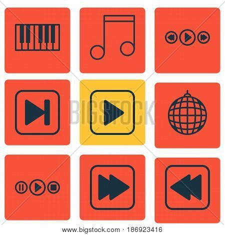 Set Of 9 Audio Icons. Includes Start Song, Following Song, Note And Other Symbols. Beautiful Design Elements.