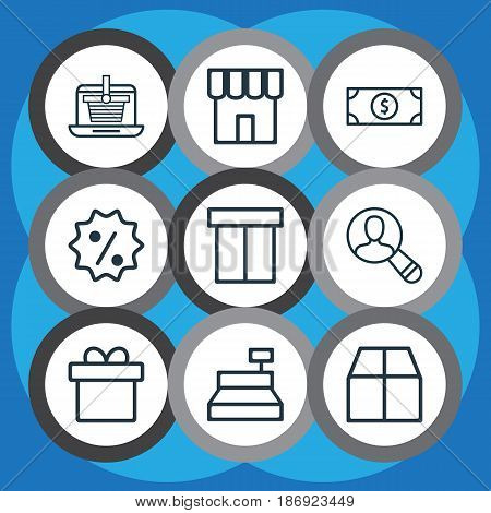 Set Of 9 E-Commerce Icons. Includes Shop, Cardboard, Till And Other Symbols. Beautiful Design Elements.