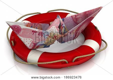 Saving the Chinese economy. Torn paper boat made from an Chinese banknote (yuan) in the lifebuoy on a white surface. Isolated. 3D Illustration
