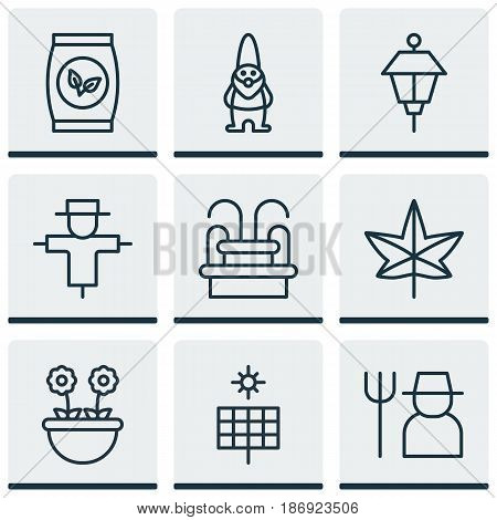 Set Of 9 Garden Icons. Includes Grower, Bugbear, Grains And Other Symbols. Beautiful Design Elements.