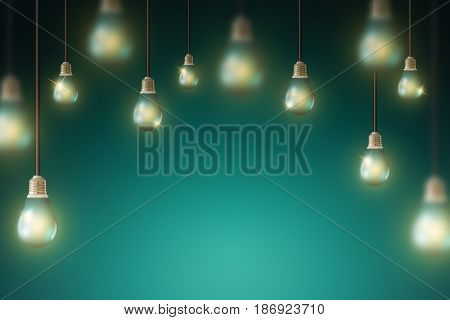 Glowing Hanging Light Bulb, business idea concept and background