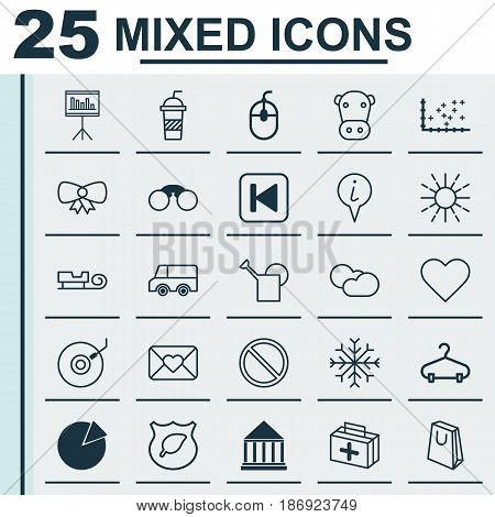 Set Of 25 Universal Editable Icons. Can Be Used For Web, Mobile And App Design. Includes Elements Such As Sled, Education Center, Lorry And More.