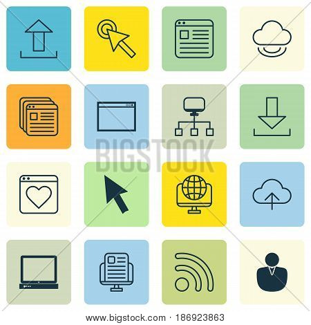 Set Of 16 Online Connection Icons. Includes Computer Network, Wifi, Local Connection And Other Symbols. Beautiful Design Elements.