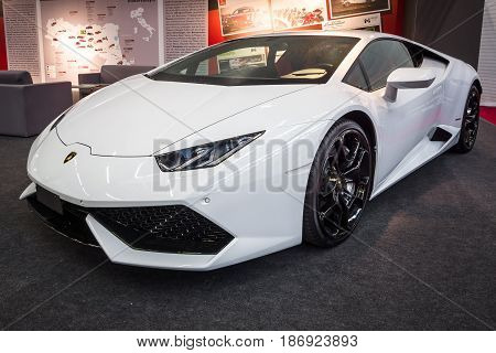 STUTTGART GERMANY - MARCH 03 2017: Sports car Lamborghini Huracan LP 610-4 2014. Europe's greatest classic car exhibition