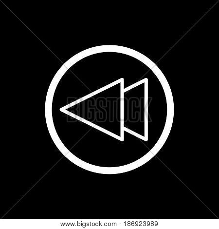 fast back rewind media player vector icon. Linear outline icon isolated on black. eps 10