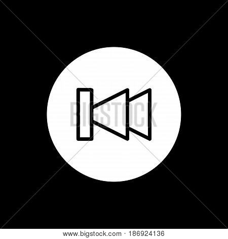 fast back rewind media player vector icon. Linear solid icon isolated on black . eps 10
