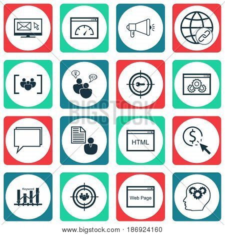 Set Of 16 Marketing Icons. Includes Loading Speed, PPC, Web Page Performance And Other Symbols. Beautiful Design Elements.