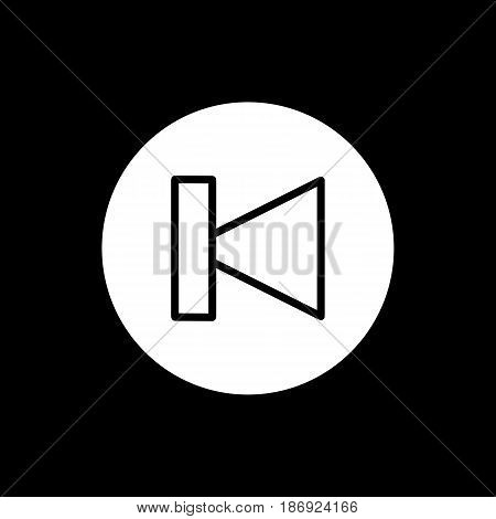 previous track button icon. Vector illustration solid on black. eps 10