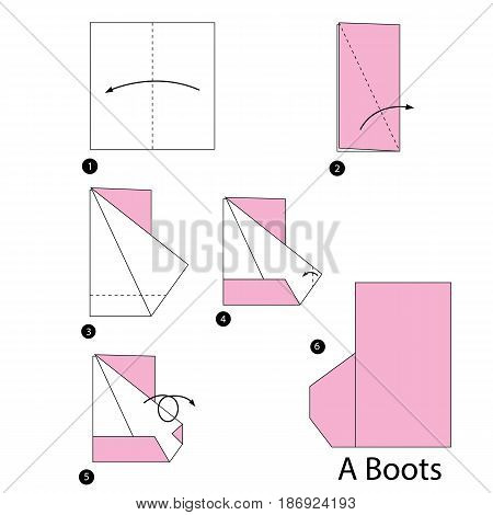 step by step instructions how to make origami a boot.
