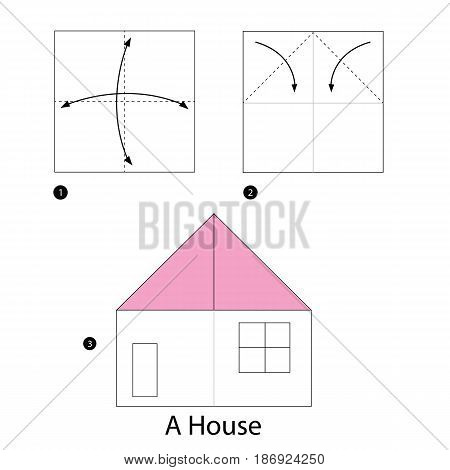 step by step instructions how to make origami a House.