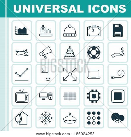 Set Of 25 Universal Editable Icons. Can Be Used For Web, Mobile And App Design. Includes Elements Such As Stop Button, Flan, Suitcase And More.