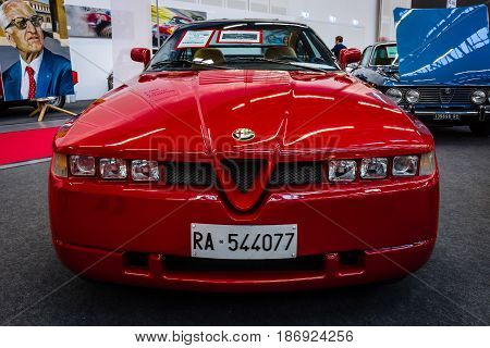 STUTTGART GERMANY - MARCH 03 2017: Sports car Alfa Romeo SZ (Sprint Zagato) 1991. Europe's greatest classic car exhibition