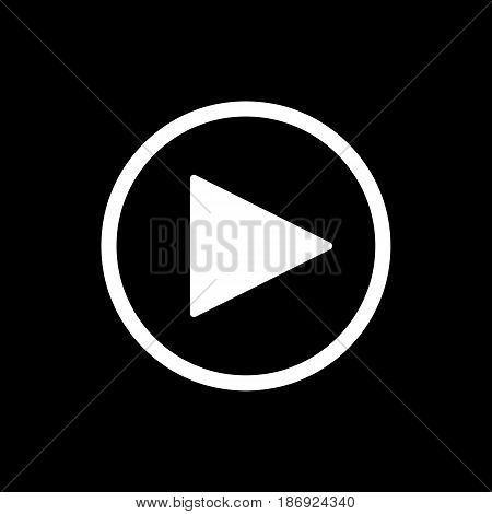 play button. vector icon in linear style isolated on black. Audio or video icon. eps 10