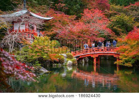 KYOTO, JAPAN - NOVEMBER 10, 2016 : Daigo-ji temple with colorful maple trees in autumn, Kyoto, Japan. Daigo-ji is a Shingon Buddhist temple in Fushimi-ku, Kyoto, Japan.