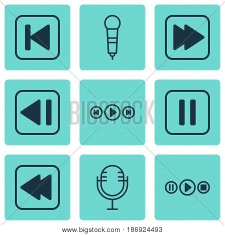 Set Of 9 Music Icons. Includes Rewind Back, Audio Buttons, Mike And Other Symbols. Beautiful Design Elements.