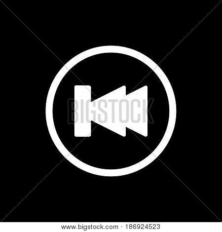 fast back rewind media player vector icon. Linear solid icon isolated on black. eps 10