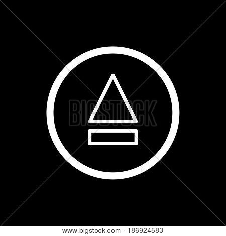 eject button icon. simple outline eject button vector icon. on black background. eps 10