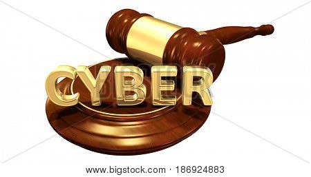 Cyber Law Concept 3D Illustration