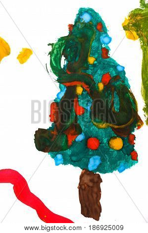 Christmas fir-tree painted with watercolors in the style of children's drawings. The concept of a bright Christmas holiday.