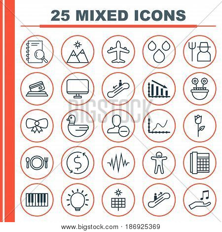 Set Of 25 Universal Editable Icons. Can Be Used For Web, Mobile And App Design. Includes Elements Such As Fail Graph, Grower, Water Drops And More.
