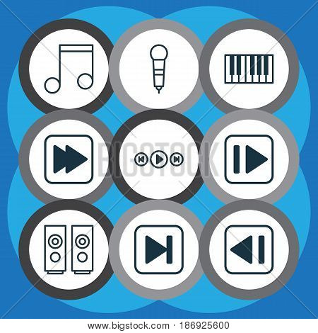 Set Of 9 Audio Icons. Includes Following Song, Last Song, Skip Song And Other Symbols. Beautiful Design Elements.