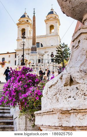ROME ITALY 24 APRIL 2017. Spanish steps with flowers in bloom.