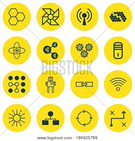 Set Of 16 Robotics Icons. Includes Recurring Program, Solution, Algorithm Illustration And Other Symbols. Beautiful Design Elements.