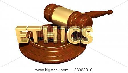 Ethics Law Concept 3D Illustration