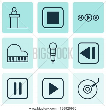 Set Of 9 Multimedia Icons. Includes Stop Button, Last Song, Rostrum And Other Symbols. Beautiful Design Elements.