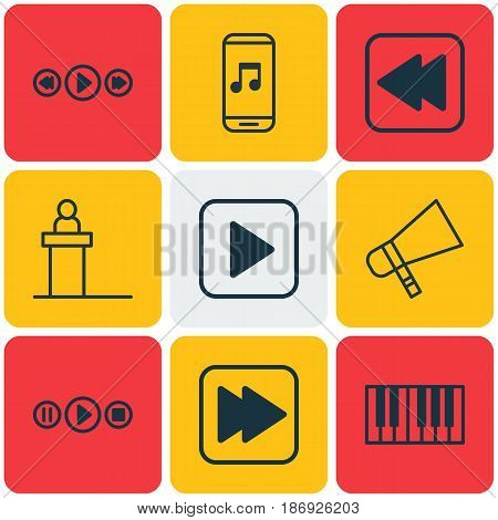 Set Of 9 Audio Icons. Includes Piano, Bullhorn, Music Control And Other Symbols. Beautiful Design Elements.