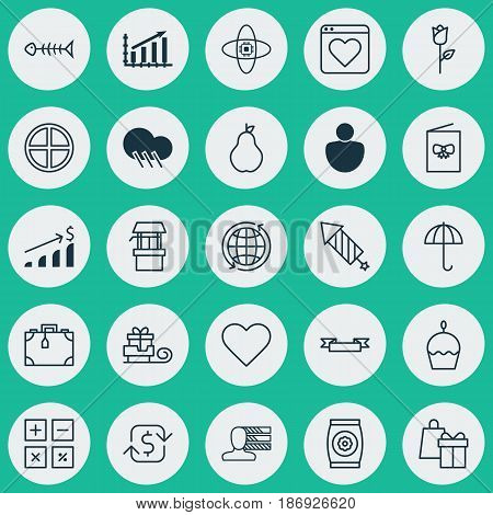 Set Of 25 Universal Editable Icons. Can Be Used For Web, Mobile And App Design. Includes Elements Such As Love Flower, Fertilizer, Positive And More.