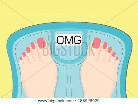 Women watching your weight in a scales healthy conceptual vector illustration.