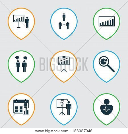 Set Of 9 Executive Icons. Includes Company Statistics, Group Organization, Solution Demonstration And Other Symbols. Beautiful Design Elements.