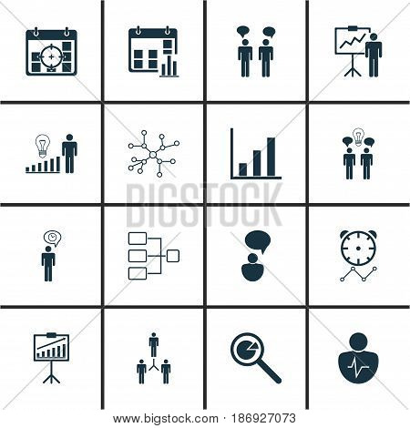 Set Of 16 Management Icons. Includes Group Organization, Project Analysis, Co-Working And Other Symbols. Beautiful Design Elements.