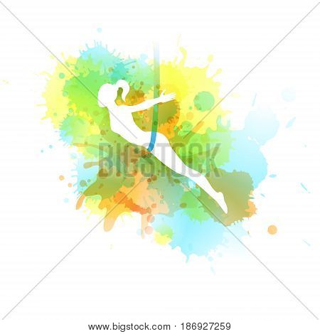 Aero yoga illustration. Female silhouette. Background with woman and watercolor spots. Vector illustration