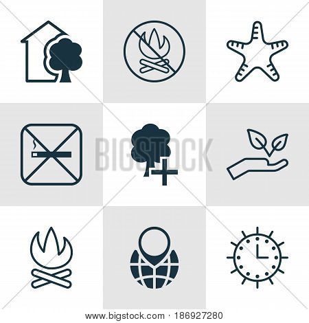 Set Of 9 Ecology Icons. Includes Bonfire, Save World, Cigarette And Other Symbols. Beautiful Design Elements.