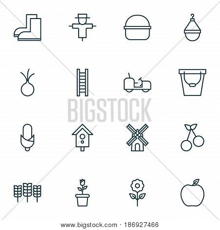 Set Of 16 Farm Icons. Includes Birdhouse, Package, Pail And Other Symbols. Beautiful Design Elements.