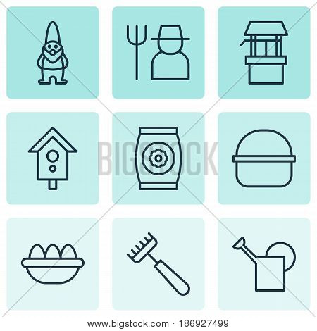 Set Of 9 Plant Icons. Includes Package, Ovum, Water Source And Other Symbols. Beautiful Design Elements.
