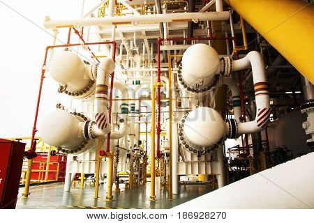 Oil industry equipment and pipe lines installation metal pipes and constructions in oil and gas flatform off shore.