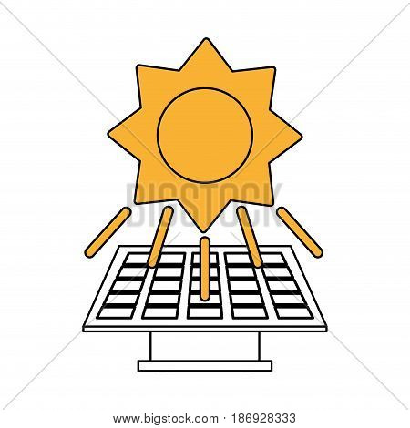 color silhouette image yellow solar energy panel vector illustration