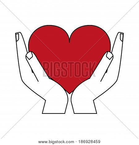 color silhouette image hands holding a red heart vector illustration