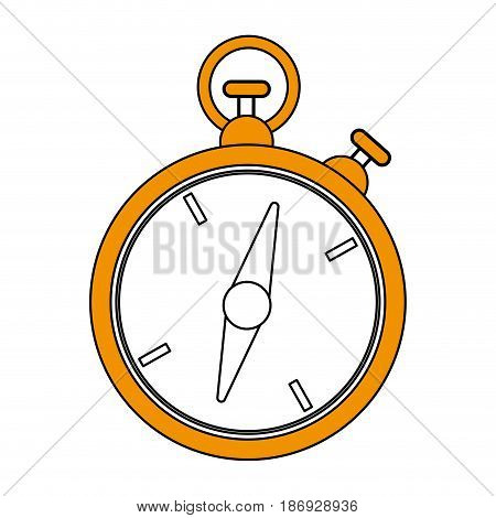 color silhouette image yellow stopwatch icon vector illustration