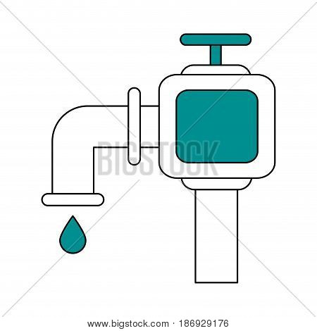 color silhouette image watertap with drop icon vector illustration