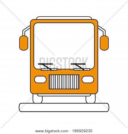 color silhouette image front view public service bus vector illustration
