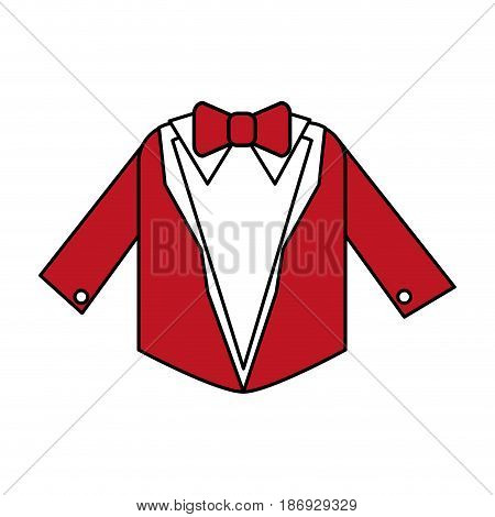 color silhouette image wedding suit male jacket with bowtie vector illustration