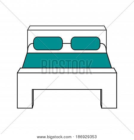 color silhouette image matrimonial bed with cover and pillows vector illustration