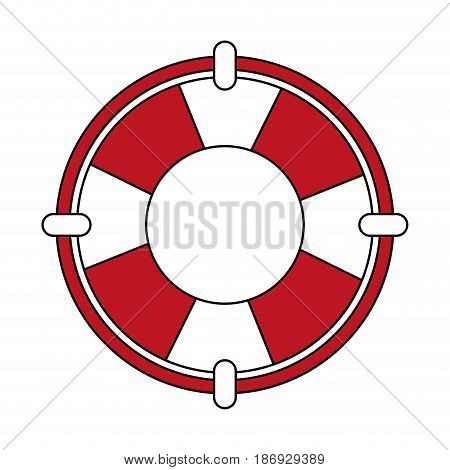 color silhouette image red stripes inflatable rings for rescue vector illustration