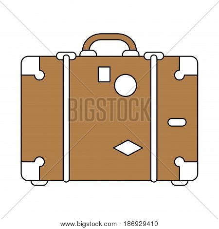 color silhouette image brown travel briefcase with handle vector illustration